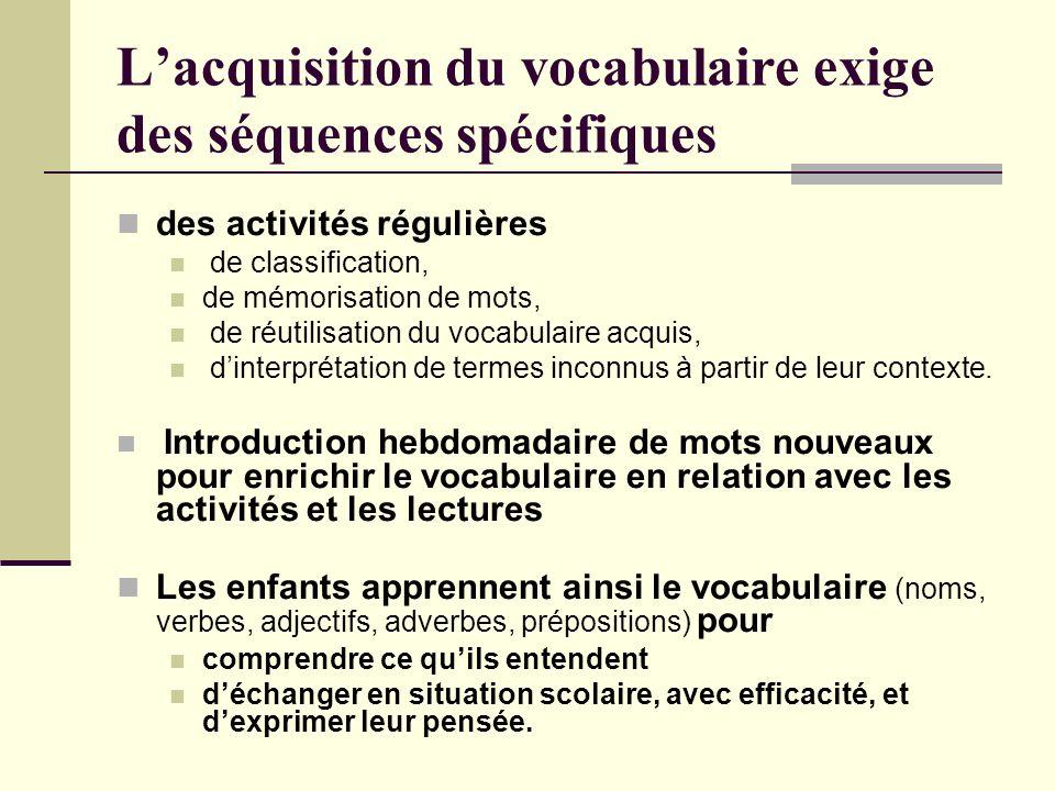 Lacquisition du vocabulaire exige des séquences spécifiques des activités régulières de classification, de mémorisation de mots, de réutilisation du v