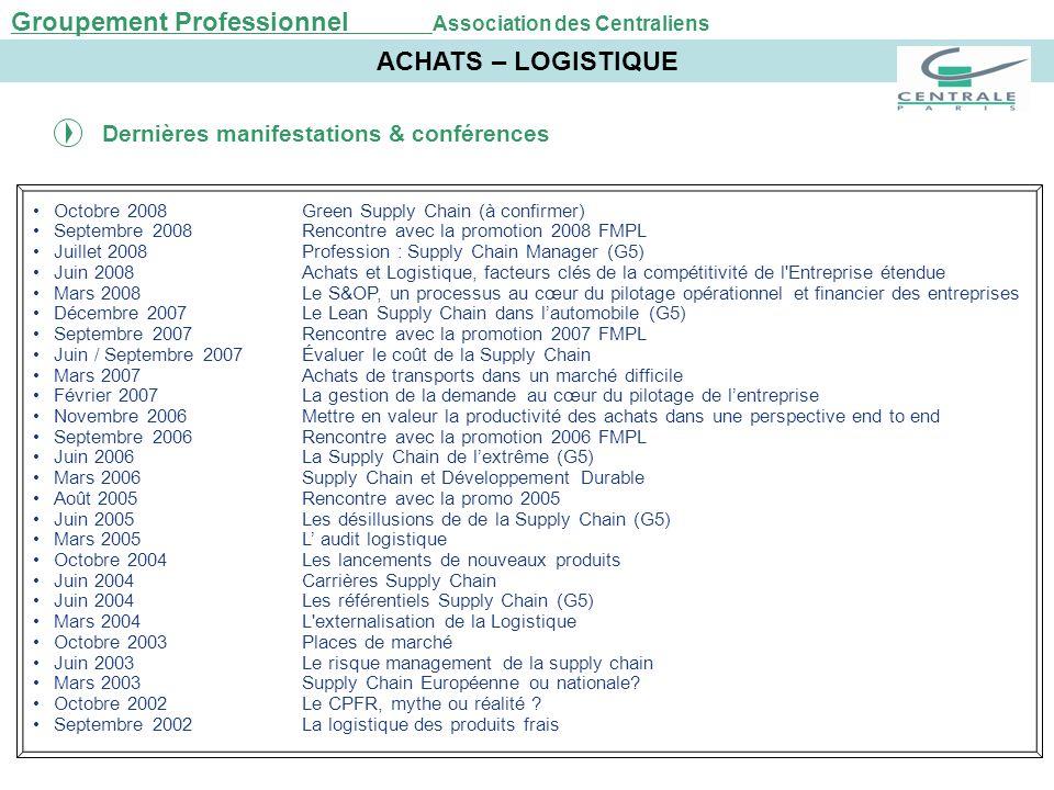 Octobre 2008Green Supply Chain (à confirmer) Septembre 2008Rencontre avec la promotion 2008 FMPL Juillet 2008Profession : Supply Chain Manager (G5) Ju