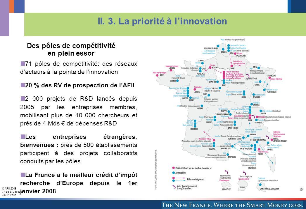 © AFII 2009 77 Bd St Jacques 75014 Paris 10 71 pôles de compétitivité: des réseaux dacteurs à la pointe de linnovation 20 % des RV de prospection de lAFII 2 000 projets de R&D lancés depuis 2005 par les entreprises membres, mobilisant plus de 10 000 chercheurs et près de 4 Mds de dépenses R&D Les entreprises étrangères, bienvenues : près de 500 établissements participent à des projets collaboratifs conduits par les pôles.