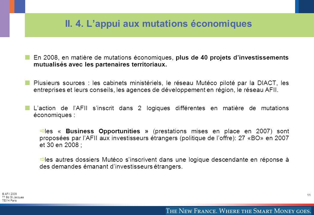 © AFII 2009 77 Bd St Jacques 75014 Paris 11 II. 4. Lappui aux mutations économiques En 2008, en matière de mutations économiques, plus de 40 projets d