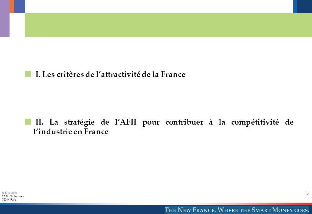 © AFII 2009 77 Bd St Jacques 75014 Paris 2 I. Les critères de lattractivité de la France II. La stratégie de lAFII pour contribuer à la compétitivité