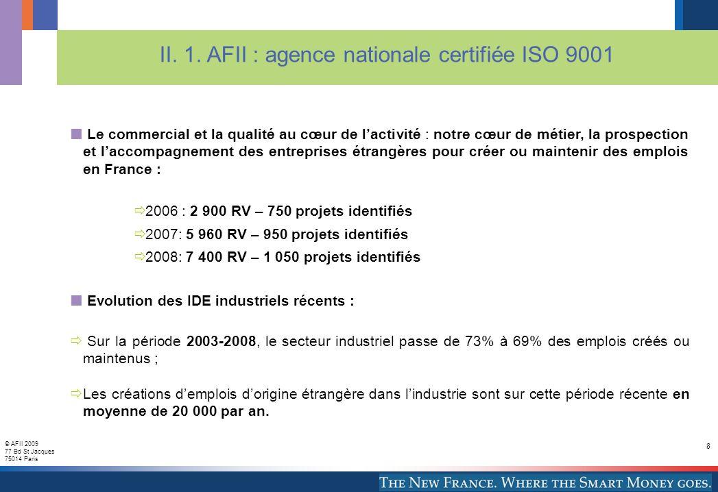© AFII 2009 77 Bd St Jacques 75014 Paris 8 II. 1.