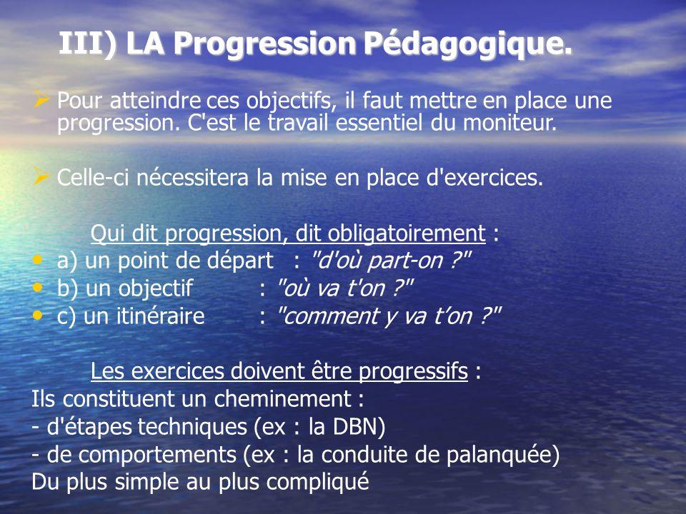 III) LA Progression Pédagogique. Pour atteindre ces objectifs, il faut mettre en place une progression. C'est le travail essentiel du moniteur. Celle-