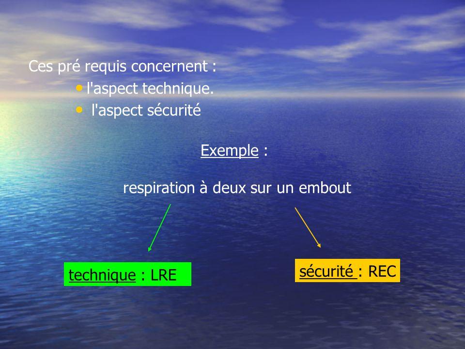 Ces pré requis concernent : l'aspect technique. l'aspect sécurité Exemple : respiration à deux sur un embout technique : LRE sécurité : REC