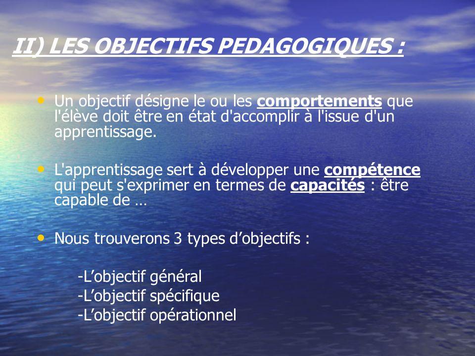 II) LES OBJECTIFS PEDAGOGIQUES : Un objectif désigne le ou les comportements que l'élève doit être en état d'accomplir à l'issue d'un apprentissage. L