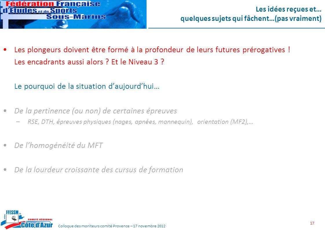 Colloque des moniteurs comité Provence – 17 novembre 2012 Les idées reçues et… quelques sujets qui fâchent…(pas vraiment) Les plongeurs doivent être f