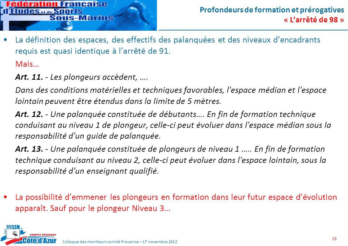 Colloque des moniteurs comité Provence – 17 novembre 2012 Profondeurs de formation et prérogatives « Larrêté de 98 » La définition des espaces, des ef