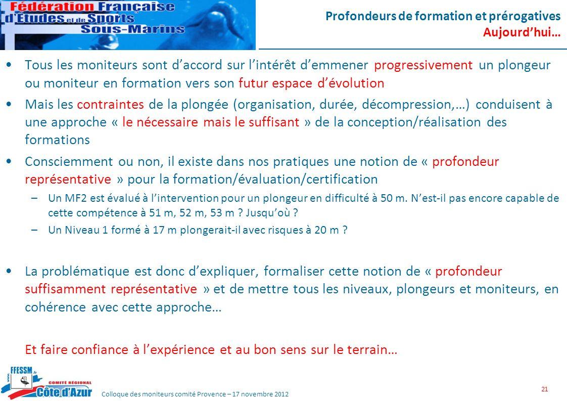 Colloque des moniteurs comité Provence – 17 novembre 2012 Profondeurs de formation et prérogatives Aujourdhui… Tous les moniteurs sont daccord sur lin
