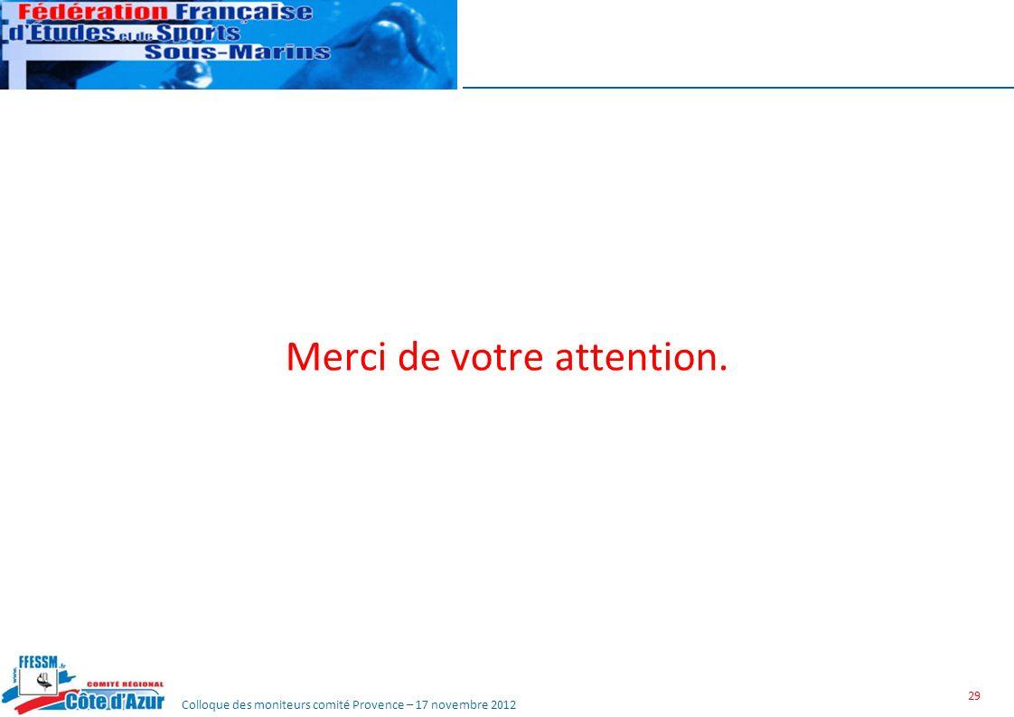 Colloque des moniteurs comité Provence – 17 novembre 2012 Merci de votre attention. 29