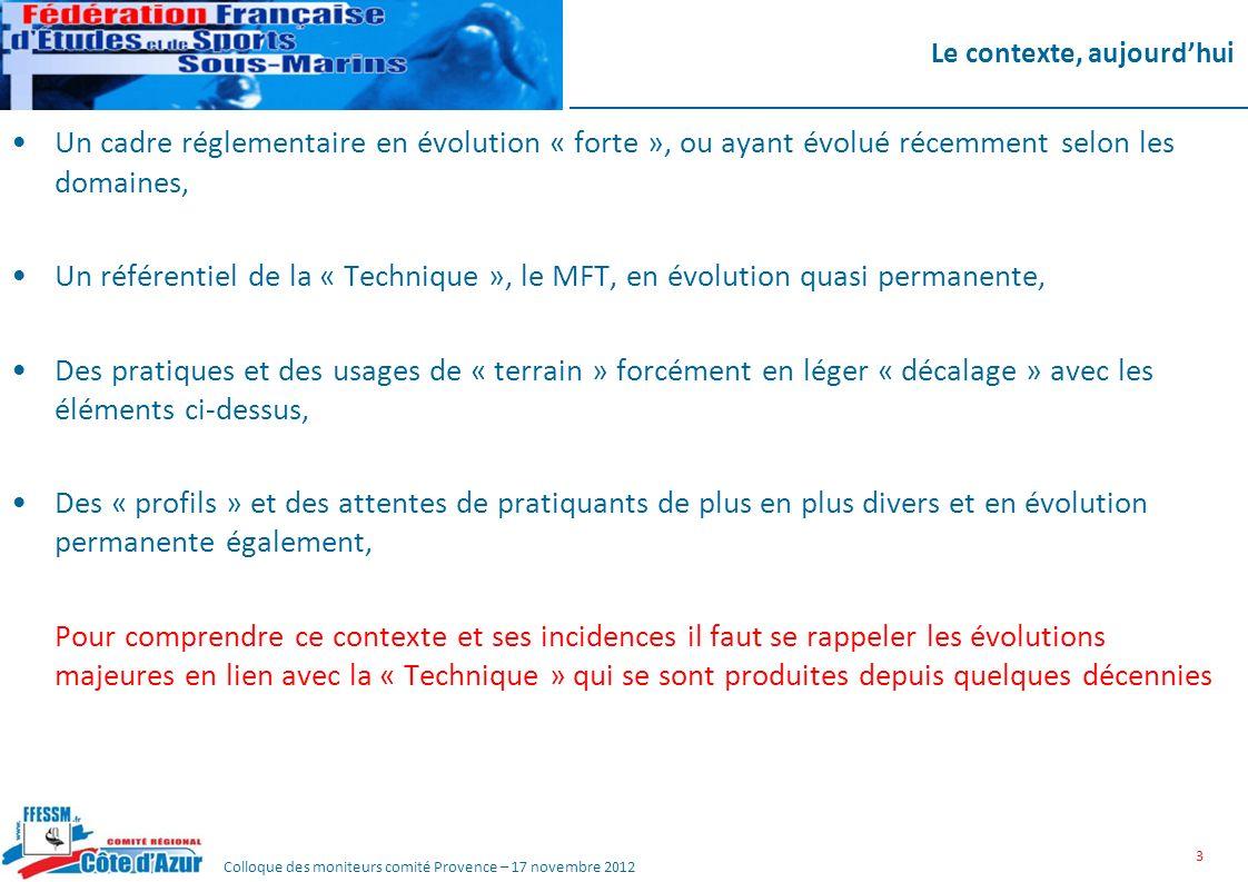 Colloque des moniteurs comité Provence – 17 novembre 2012 Le contexte, aujourdhui Un cadre réglementaire en évolution « forte », ou ayant évolué récem