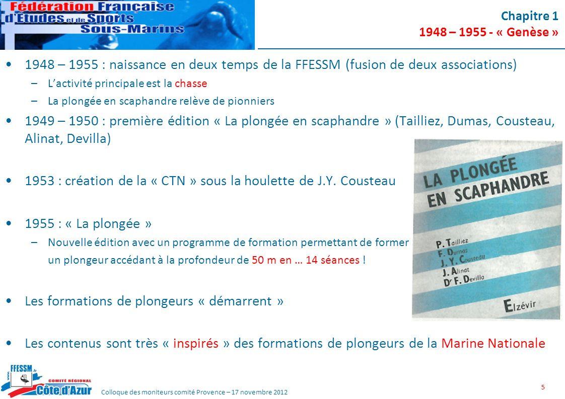 Colloque des moniteurs comité Provence – 17 novembre 2012 Chapitre 1 1948 – 1955 - « Genèse » 1948 – 1955 : naissance en deux temps de la FFESSM (fusi