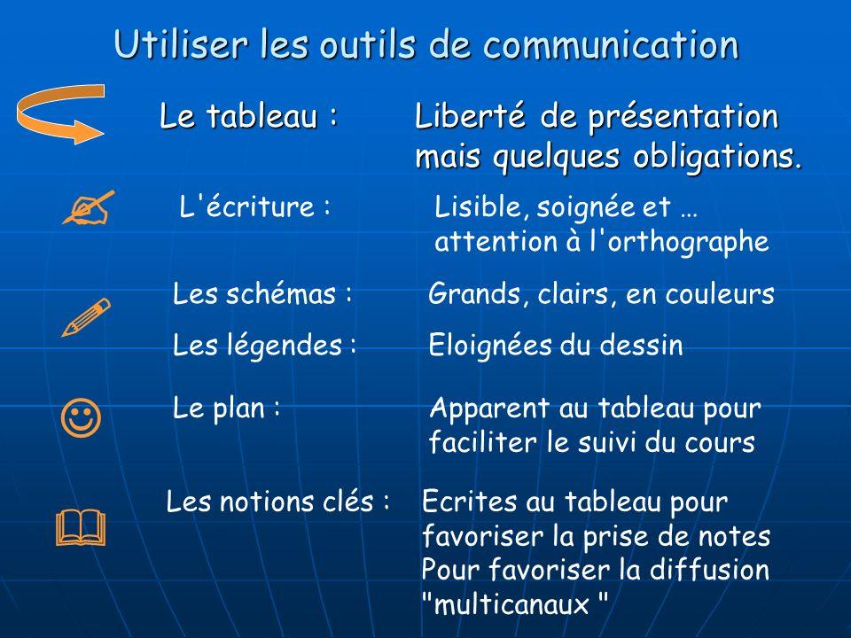Utiliser les outils de communication Le tableau : Liberté de présentation mais quelques obligations. L'écriture : Lisible, soignée et … attention à l'