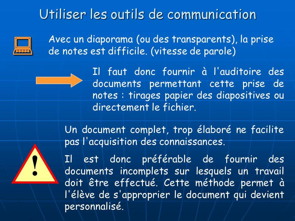 Utiliser les outils de communication Avec un diaporama (ou des transparents), la prise de notes est difficile. (vitesse de parole) ! Un document compl