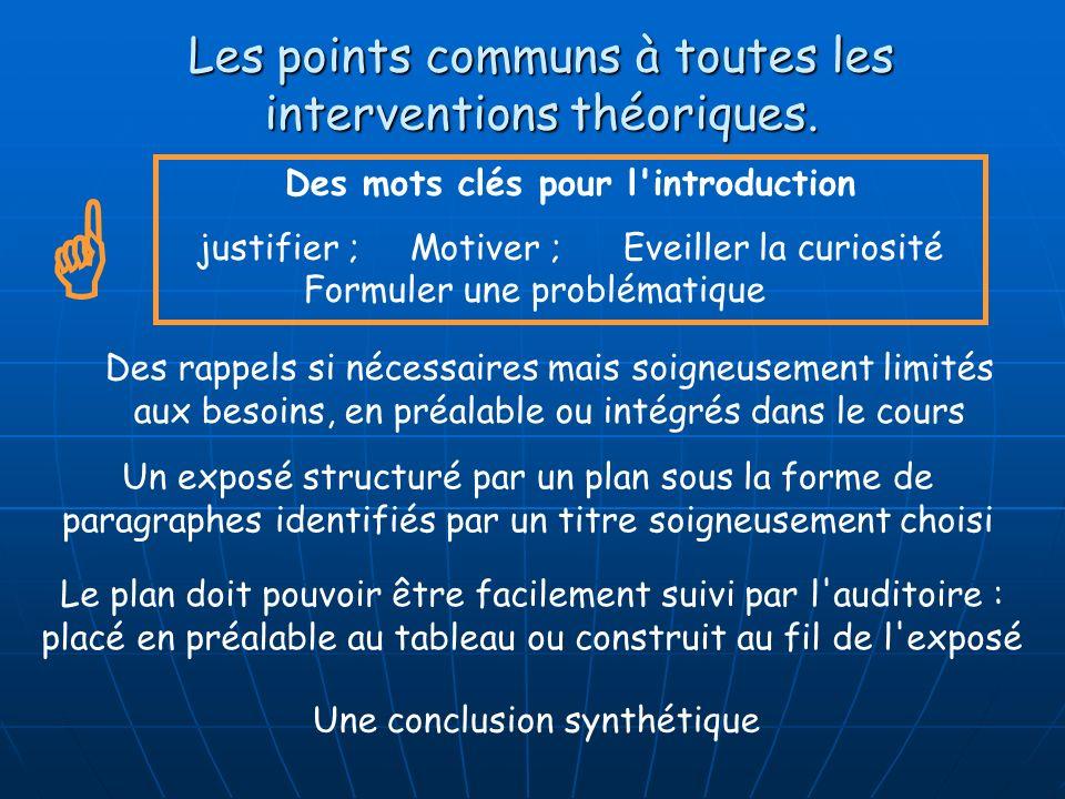 Les points communs à toutes les interventions théoriques. Des mots clés pour l'introduction justifier ;Motiver ;Eveiller la curiosité Formuler une pro