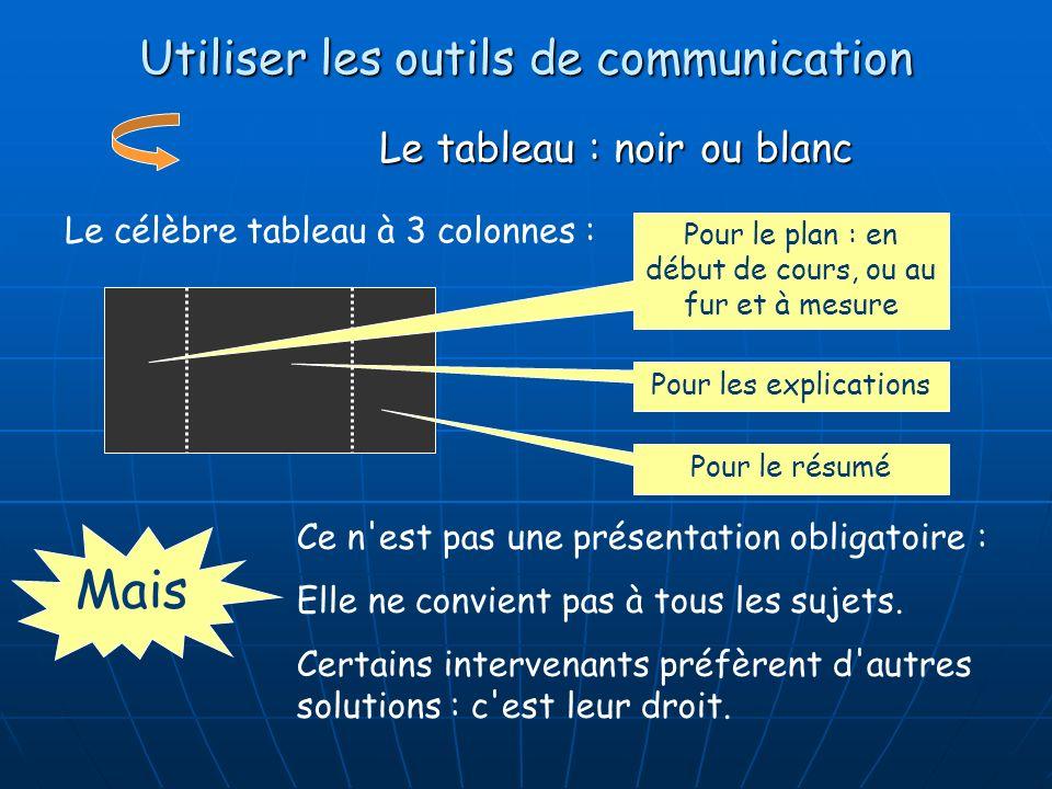 Utiliser les outils de communication Le tableau : noir ou blanc Le célèbre tableau à 3 colonnes : Pour le plan : en début de cours, ou au fur et à mes