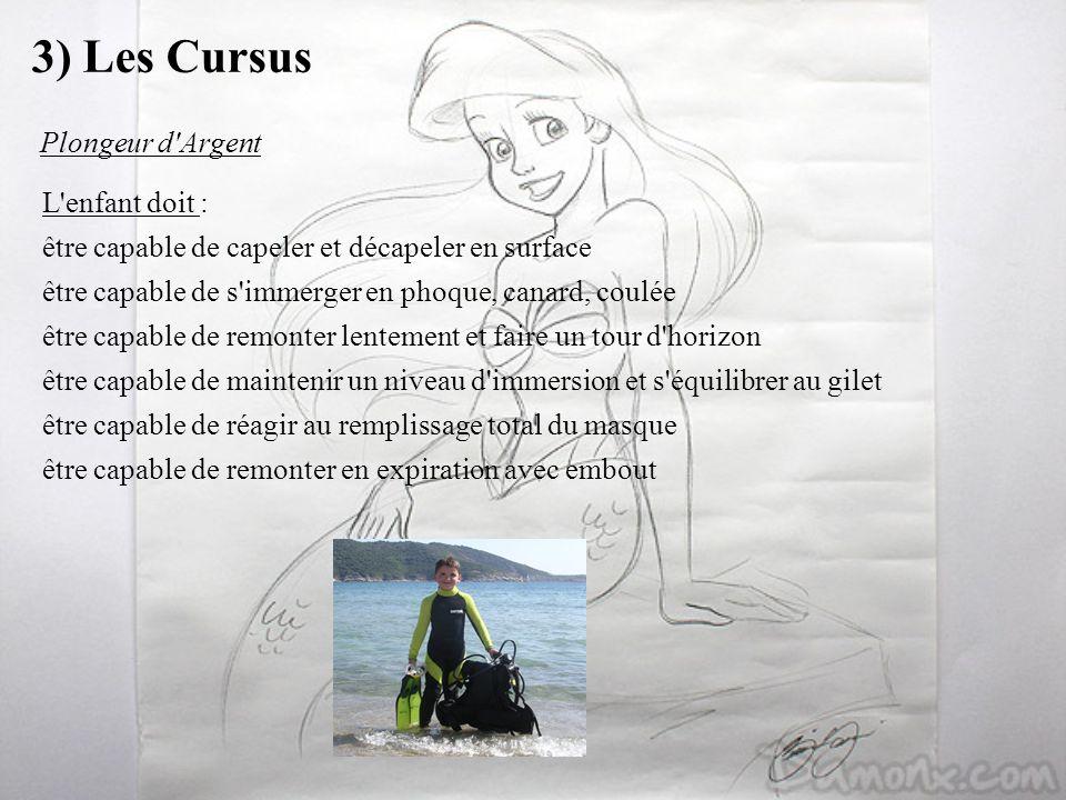 3) Les Cursus L'enfant doit : être capable de capeler et décapeler en surface être capable de s'immerger en phoque, canard, coulée être capable de rem