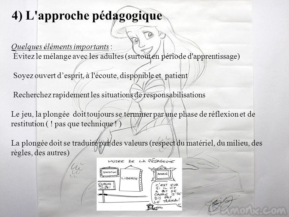4) L'approche pédagogique Quelques éléments importants : Évitez le mélange avec les adultes (surtout en période d'apprentissage) Soyez ouvert desprit,