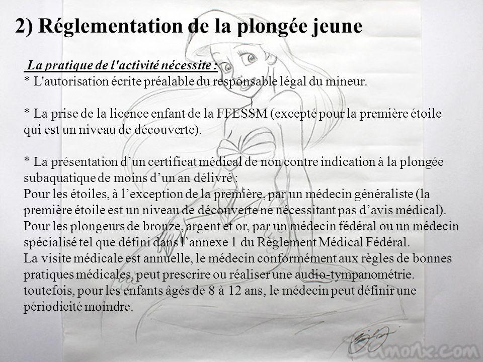 2) Réglementation de la plongée jeune La pratique de l'activité nécessite : * L'autorisation écrite préalable du responsable légal du mineur. * La pri