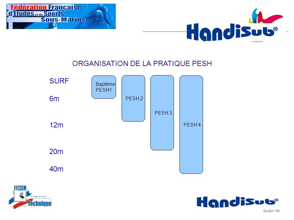 Oct 2011 PC Baptême PESH1 PESH 2 PESH 3 PESH 4 ORGANISATION DE LA PRATIQUE PESH SURF 6m 12m 20m 40m