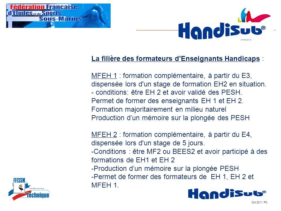 Oct 2011 PC La filière des formateurs d'Enseignants Handicaps : MFEH 1 : formation complémentaire, à partir du E3, dispensée lors d'un stage de format
