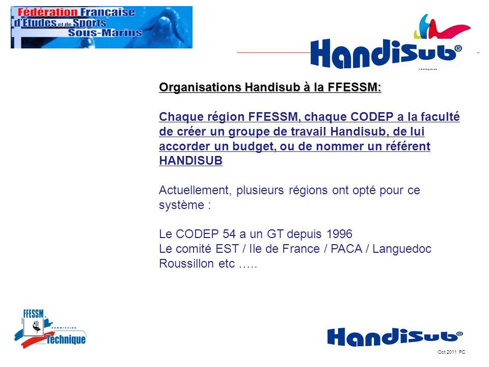Oct 2011 PC Organisations Handisub à la FFESSM: Chaque région FFESSM, chaque CODEP a la faculté de créer un groupe de travail Handisub, de lui accorde