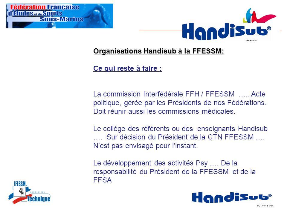 Oct 2011 PC Organisations Handisub à la FFESSM: Ce qui reste à faire : La commission Interfédérale FFH / FFESSM ….. Acte politique, gérée par les Prés