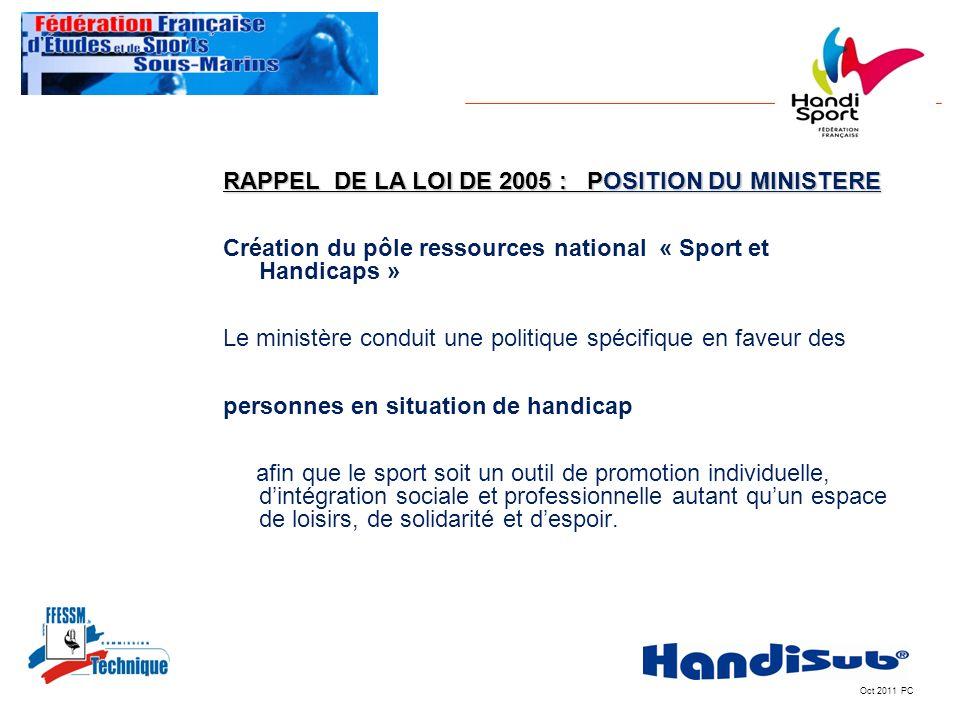 Oct 2011 PC RAPPEL DE LA LOI DE 2005 : POSITION DU MINISTERE Création du pôle ressources national « Sport et Handicaps » Le ministère conduit une poli