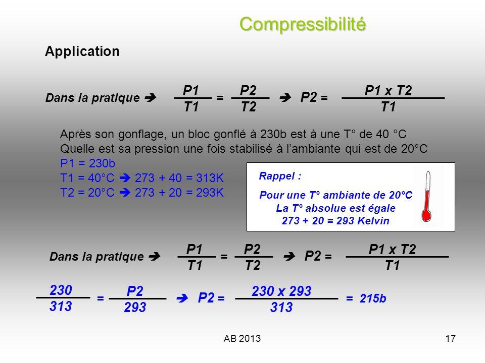 AB 201317 Après son gonflage, un bloc gonflé à 230b est à une T° de 40 °C Quelle est sa pression une fois stabilisé à lambiante qui est de 20°C P1 = 2