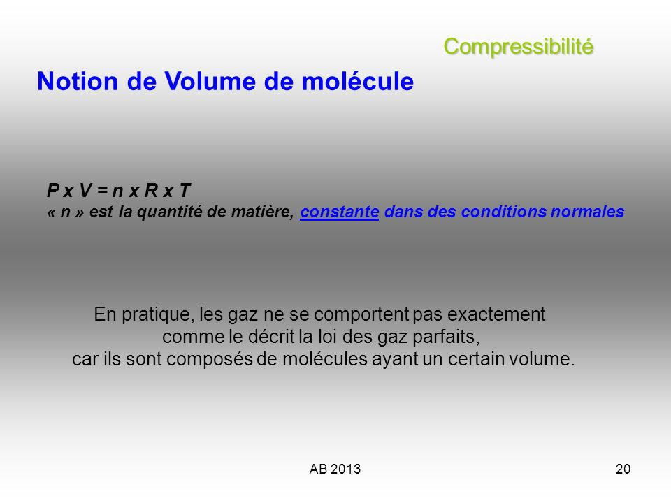 AB 201320 Compressibilité Compressibilité Notion de Volume de molécule P x V = n x R x T « n » est la quantité de matière, constante dans des conditio