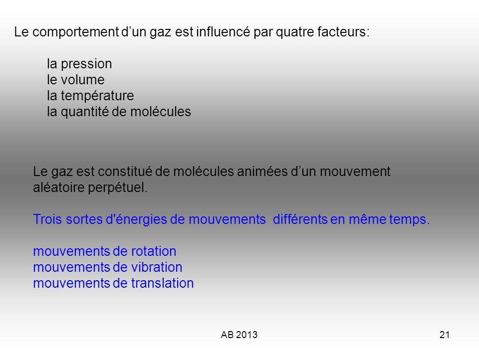 AB 201321 Le comportement dun gaz est influencé par quatre facteurs: la pression le volume la température la quantité de molécules Le gaz est constitu