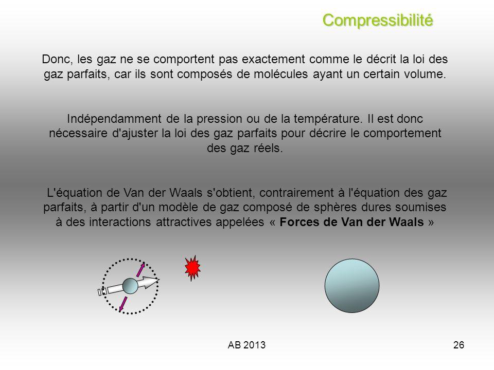 AB 201326 Compressibilité Compressibilité Donc, les gaz ne se comportent pas exactement comme le décrit la loi des gaz parfaits, car ils sont composés