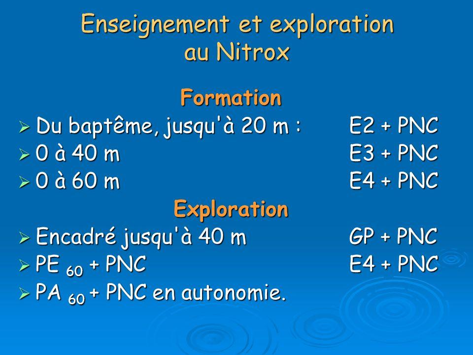 Enseignement et exploration au Nitrox Formation Du baptême, jusqu'à 20 m : E2 + PNC Du baptême, jusqu'à 20 m : E2 + PNC 0 à 40 m E3 + PNC 0 à 40 m E3