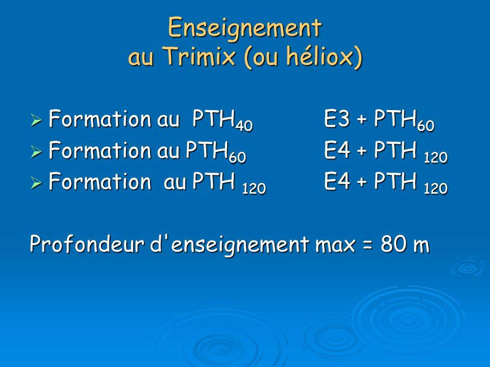 Enseignement au Trimix (ou héliox) Formation au PTH 40 E3 + PTH 60 Formation au PTH 40 E3 + PTH 60 Formation au PTH 60 E4 + PTH 120 Formation au PTH 6
