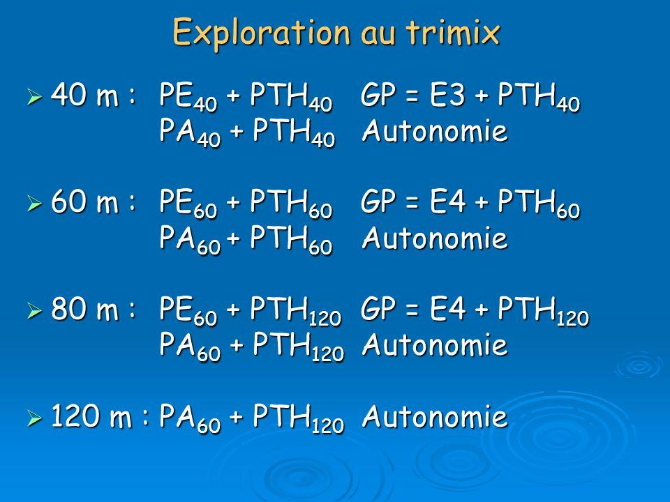 Exploration au trimix 40 m : PE 40 + PTH 40 GP = E3 + PTH 40 40 m : PE 40 + PTH 40 GP = E3 + PTH 40 PA 40 + PTH 40 Autonomie 60 m :PE 60 + PTH 60 GP =