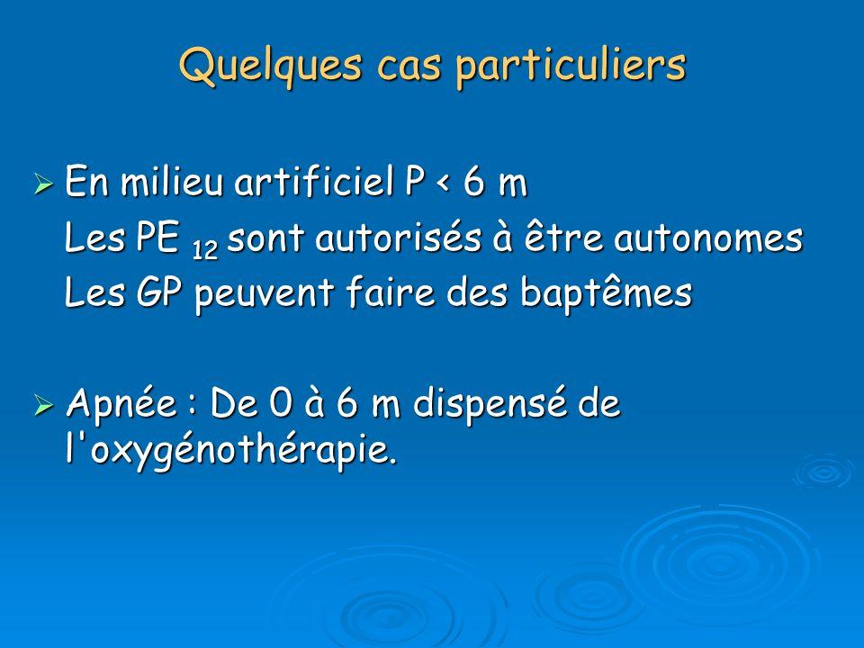 Quelques cas particuliers En milieu artificiel P < 6 m En milieu artificiel P < 6 m Les PE 12 sont autorisés à être autonomes Les GP peuvent faire des