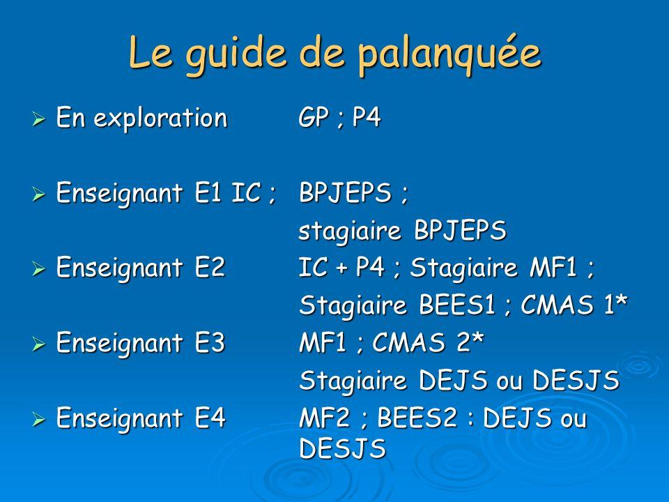 Le guide de palanquée En explorationGP ; P4 En explorationGP ; P4 Enseignant E1IC ; BPJEPS ; Enseignant E1IC ; BPJEPS ; stagiaire BPJEPS Enseignant E2