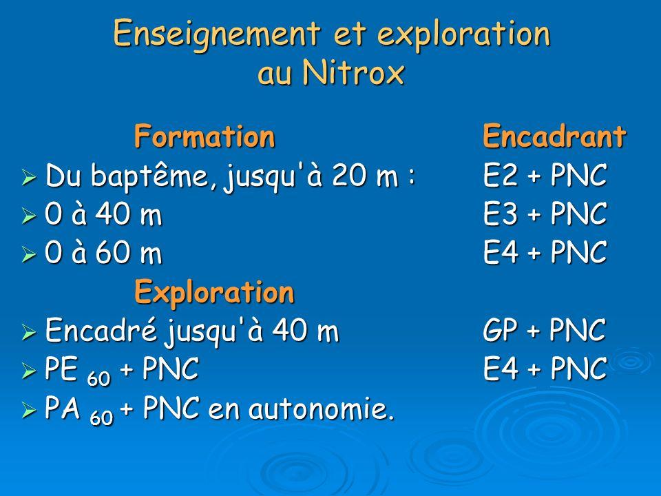 Enseignement et exploration au Nitrox FormationEncadrant FormationEncadrant Du baptême, jusqu'à 20 m : E2 + PNC Du baptême, jusqu'à 20 m : E2 + PNC 0