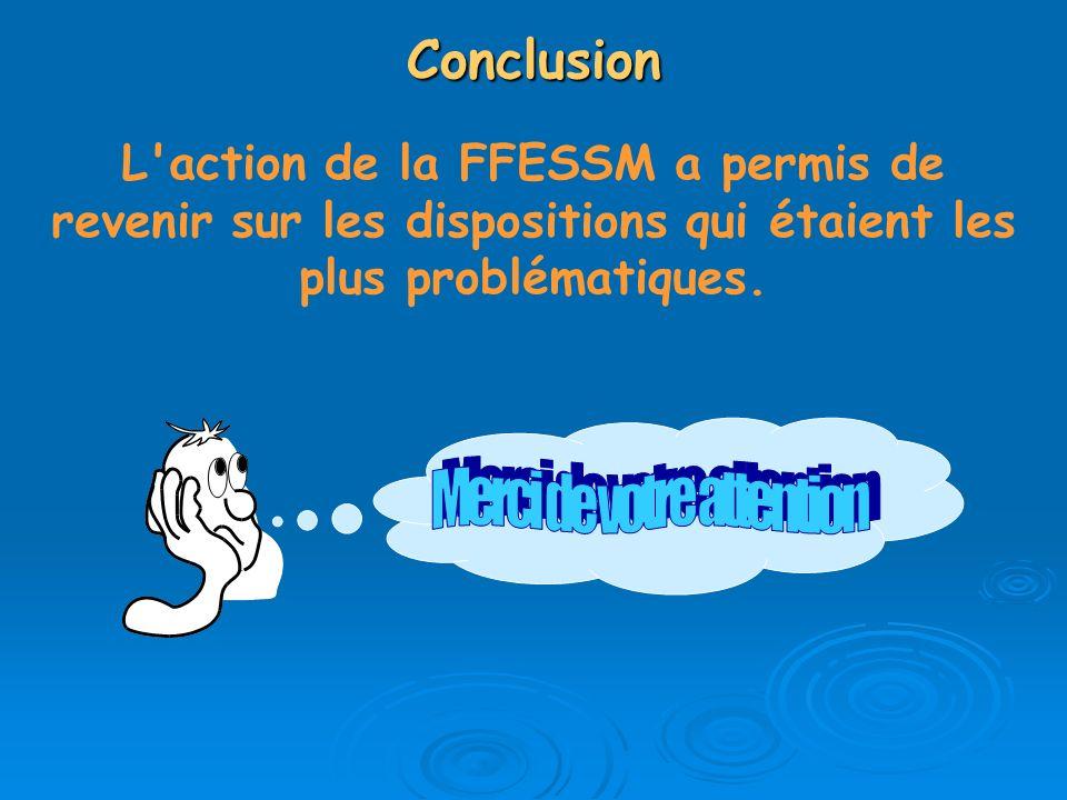 Conclusion L'action de la FFESSM a permis de revenir sur les dispositions qui étaient les plus problématiques.