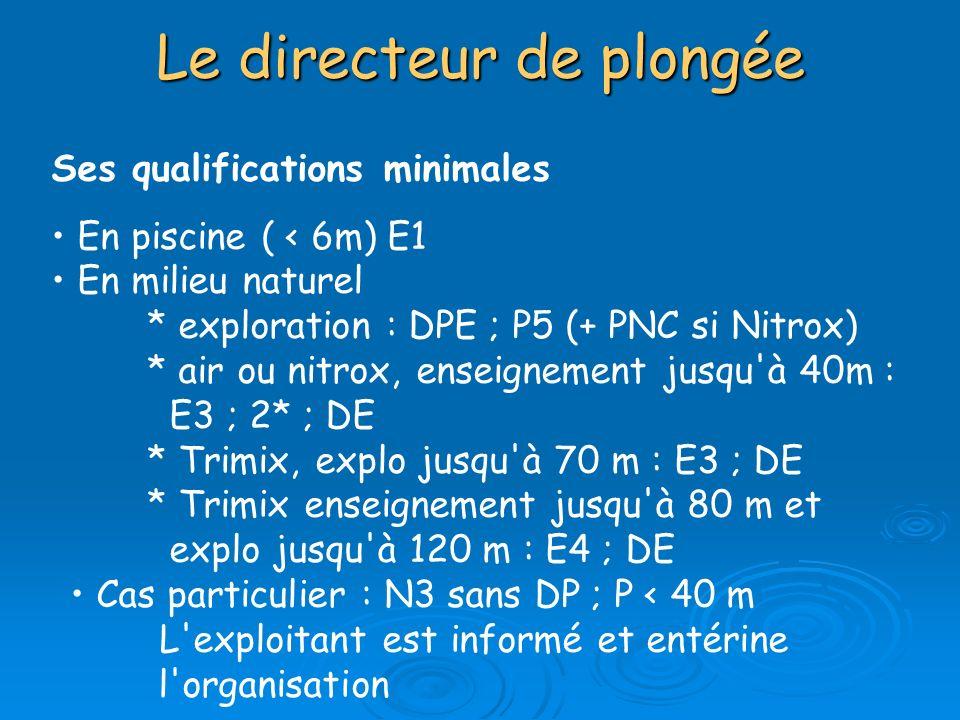 Ses qualifications minimales En piscine ( < 6m) E1 En milieu naturel * exploration : DPE ; P5 (+ PNC si Nitrox) * air ou nitrox, enseignement jusqu'à