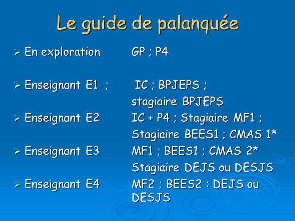 Le guide de palanquée En explorationGP ; P4 En explorationGP ; P4 Enseignant E1 ; IC ; BPJEPS ; Enseignant E1 ; IC ; BPJEPS ; stagiaire BPJEPS Enseign
