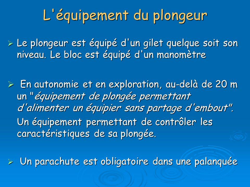 L'équipement du plongeur Le plongeur est équipé d'un gilet quelque soit son niveau. Le bloc est équipé d'un manomètre Le plongeur est équipé d'un gile