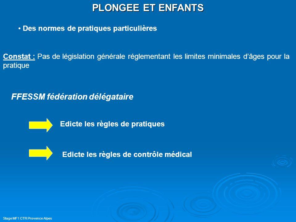 Stage MF1 CTR Provence Alpes PLONGEE ET ENFANTS Des normes de pratiques particulières Constat : Pas de législation générale réglementant les limites m