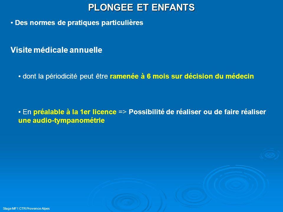 Stage MF1 CTR Provence Alpes PLONGEE ET ENFANTS Des normes de pratiques particulières Visite médicale annuelle dont la périodicité peut être ramenée à