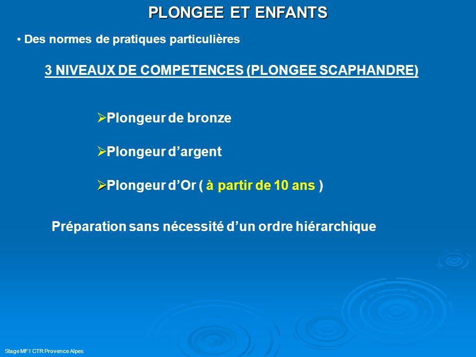 Stage MF1 CTR Provence Alpes PLONGEE ET ENFANTS Des normes de pratiques particulières 3 NIVEAUX DE COMPETENCES (PLONGEE SCAPHANDRE) Plongeur de bronze
