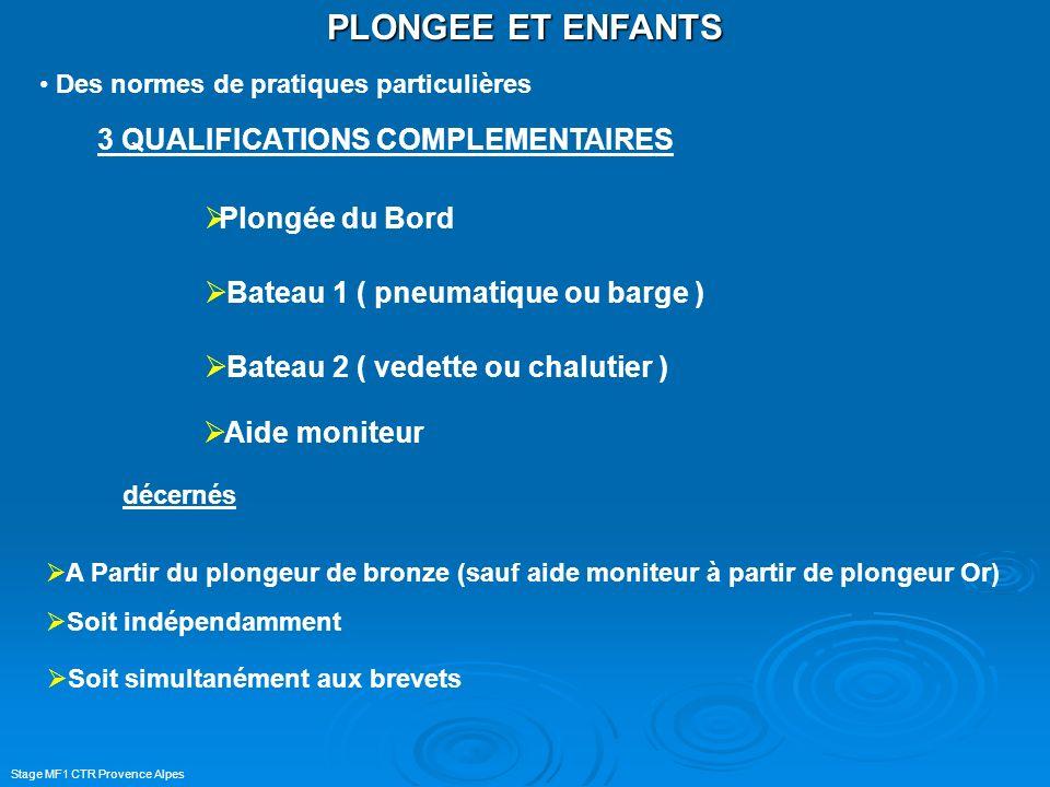 Stage MF1 CTR Provence Alpes PLONGEE ET ENFANTS 3 QUALIFICATIONS COMPLEMENTAIRES Soit simultanément aux brevets A Partir du plongeur de bronze (sauf a