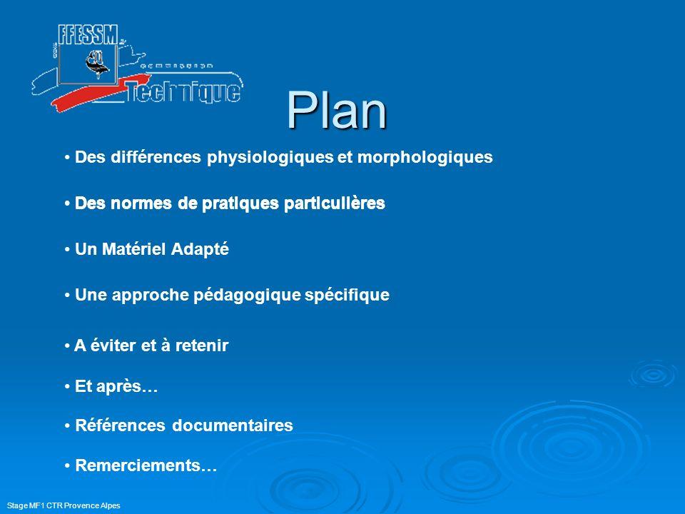 Stage MF1 CTR Provence Alpes Plan Des normes de pratiques particulières Un Matériel Adapté Une approche pédagogique spécifique Des différences physiol