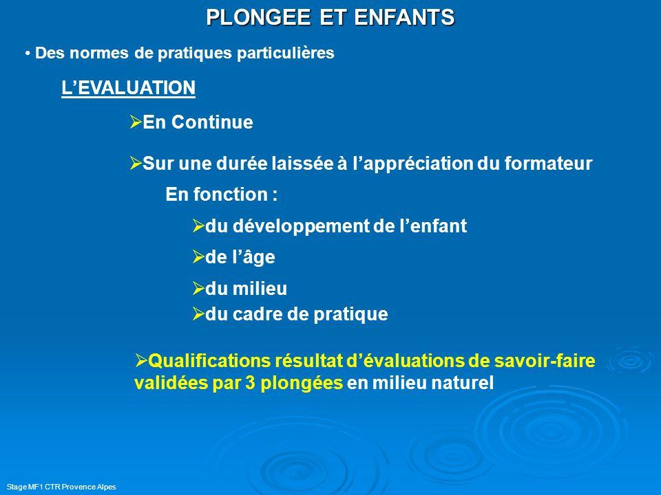 Stage MF1 CTR Provence Alpes PLONGEE ET ENFANTS Des normes de pratiques particulières LEVALUATION En Continue Sur une durée laissée à lappréciation du