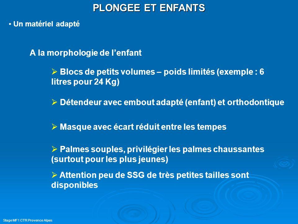 Stage MF1 CTR Provence Alpes PLONGEE ET ENFANTS Un matériel adapté A la morphologie de lenfant Blocs de petits volumes – poids limités (exemple : 6 li