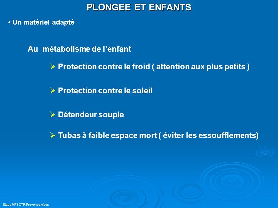 Stage MF1 CTR Provence Alpes PLONGEE ET ENFANTS Un matériel adapté Au métabolisme de lenfant Protection contre le froid ( attention aux plus petits )
