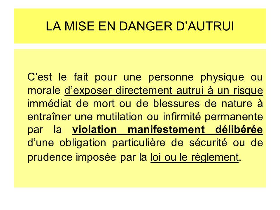 LA MISE EN DANGER DAUTRUI Cest le fait pour une personne physique ou morale dexposer directement autrui à un risque immédiat de mort ou de blessures d